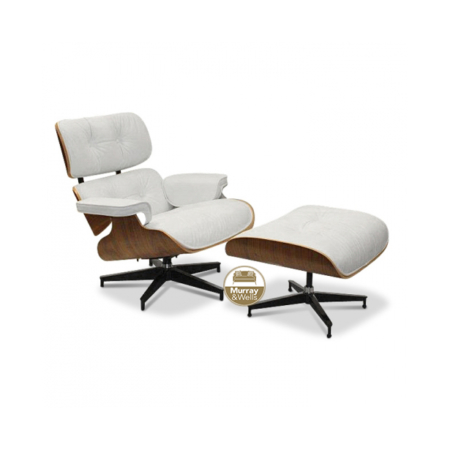 Replica Eames chair and stool in white leather