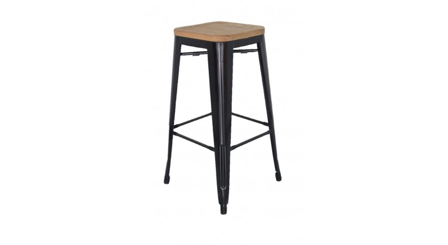 Replica tolix wooden seat bar stool murray wells for Tolix stuhl replik