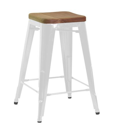 Replica Tolix Kitchen Stool With Wooden Seat