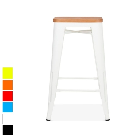 Tolix Kitchen stool with wooden seat