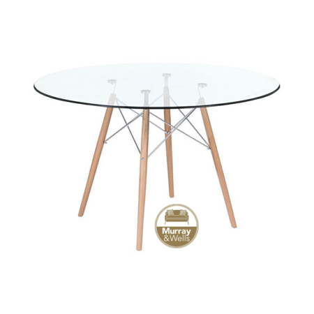 Del Eames table glass top mw